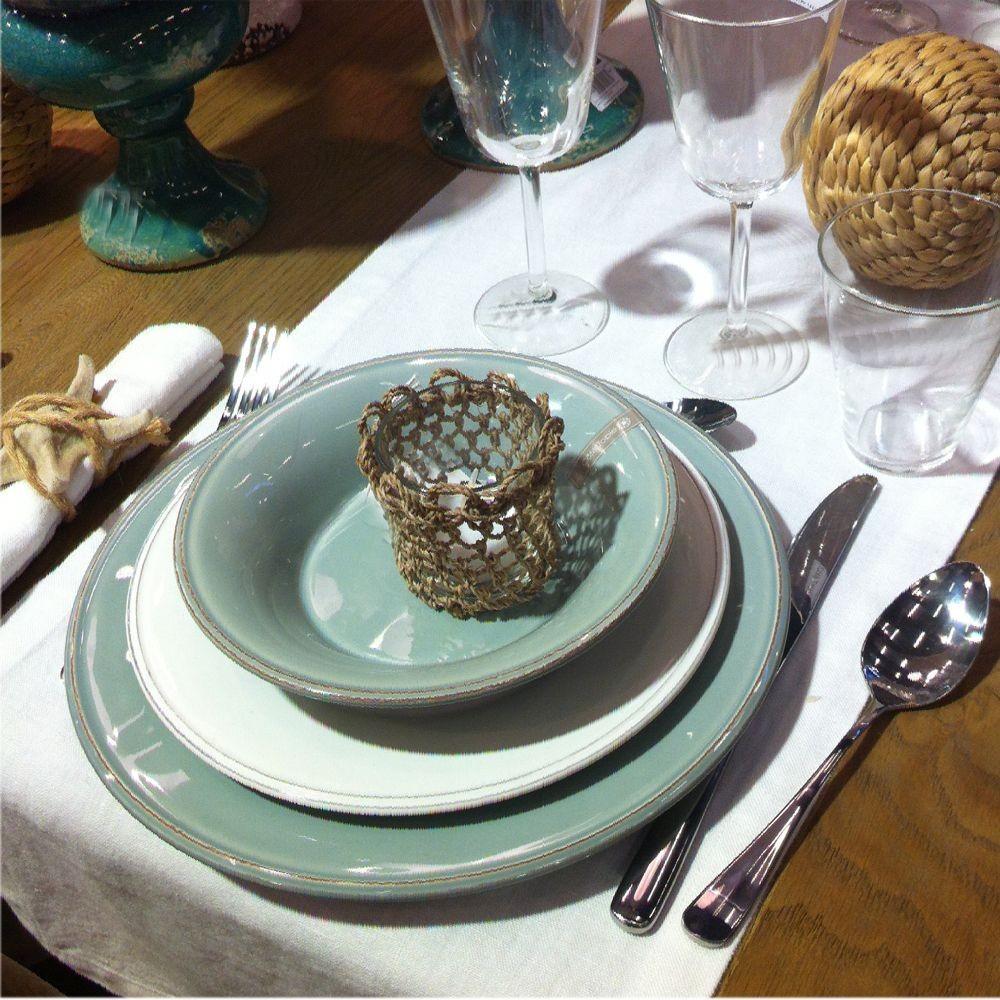 constance assiette plate en faience vert d 39 eau par4 bord de mer th mes styles. Black Bedroom Furniture Sets. Home Design Ideas
