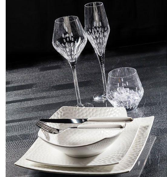 Dune - Assiette plate 25 cm porcelaine blanche (par2)