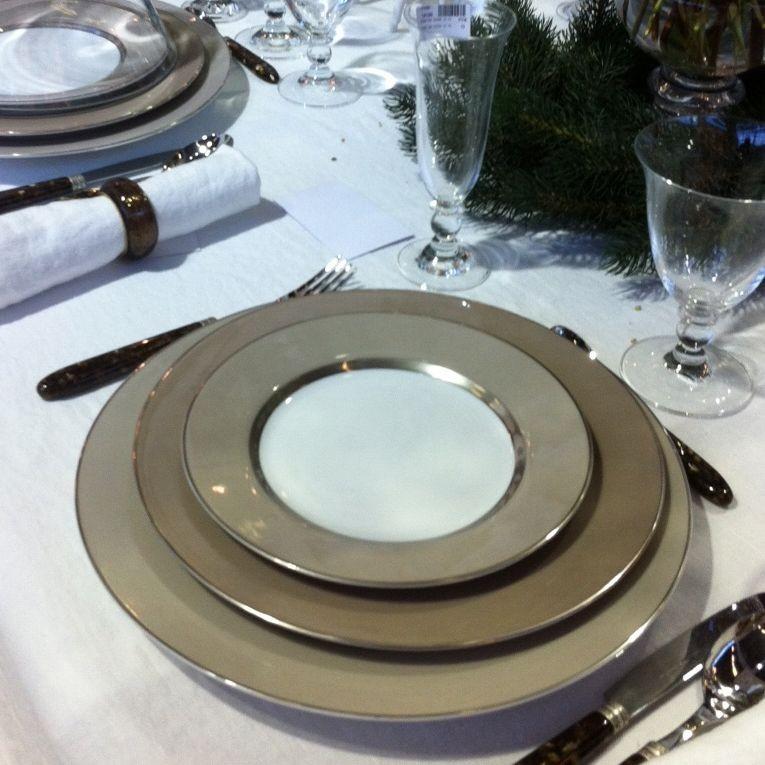 ginger -assiette plate grise et platine en porcelaine (par4)