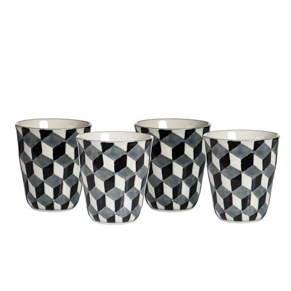Vintage  - Gobelet  motif 3D noir et blanc ( par 4)