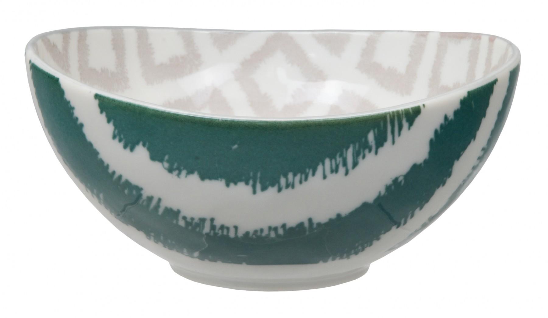 Kasuri - bol bleu petrol et beige 13x6cm en porcelaine (par2)