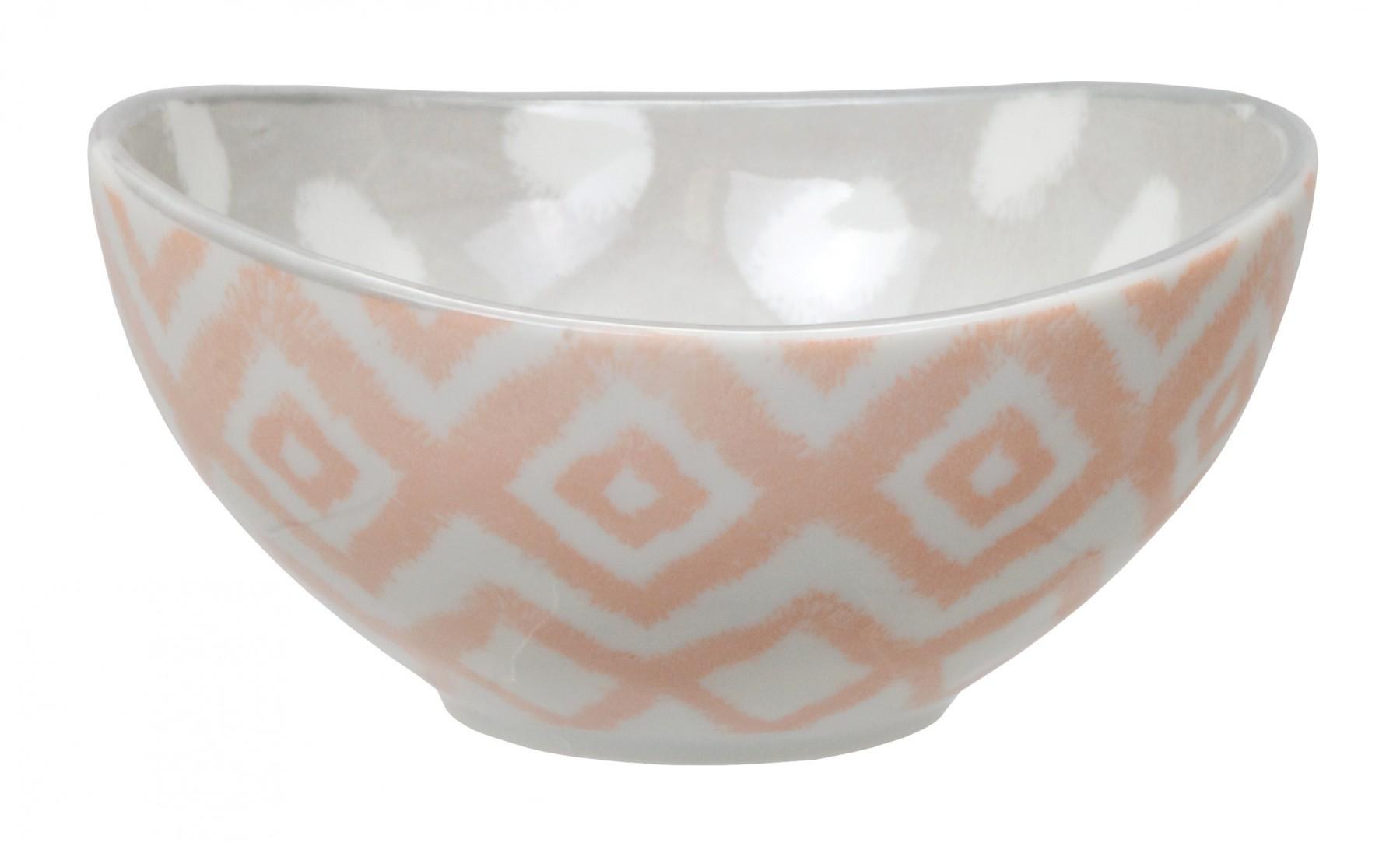 Kasuri - bol  rose et gris  10,5x5,5m en porcelaine (par2)