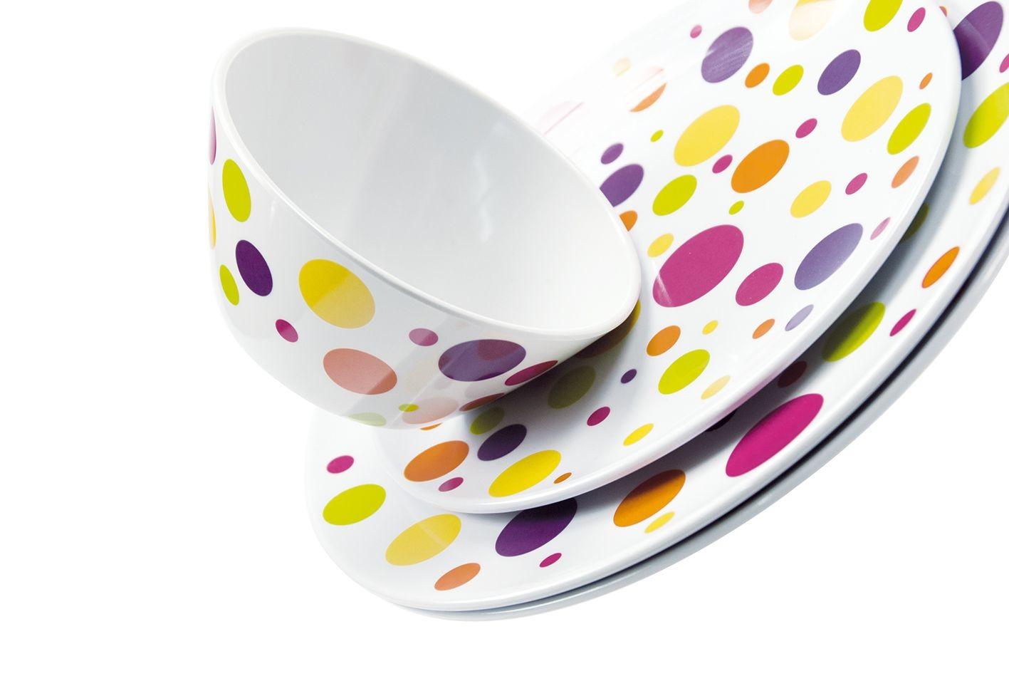 Dotty - Set de table reversible décor pois multicolors et uni 45x30cm (par6)