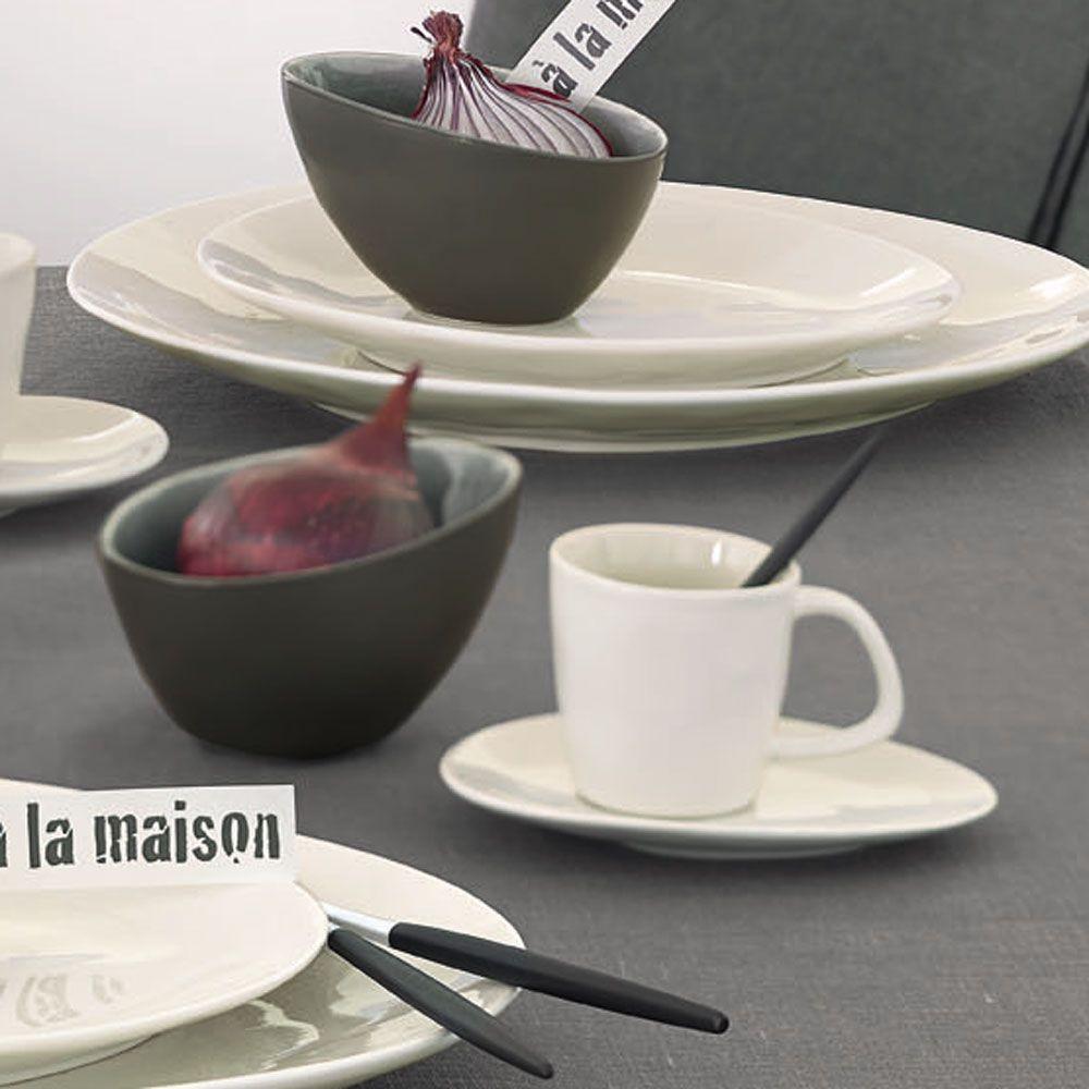 A  la maison - Plat champagne en ceramique Bi matiere mat et brillant