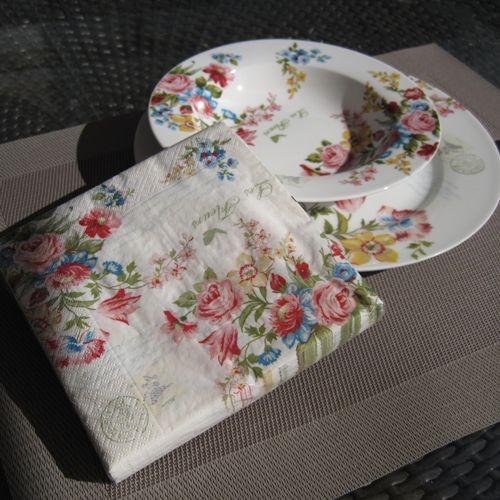 Fleurs - Set de 20 serviettes en papier