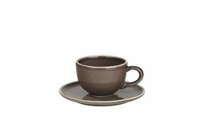 Sixties  -  Tasse à café  et  sous  tasse  taupe (par6)
