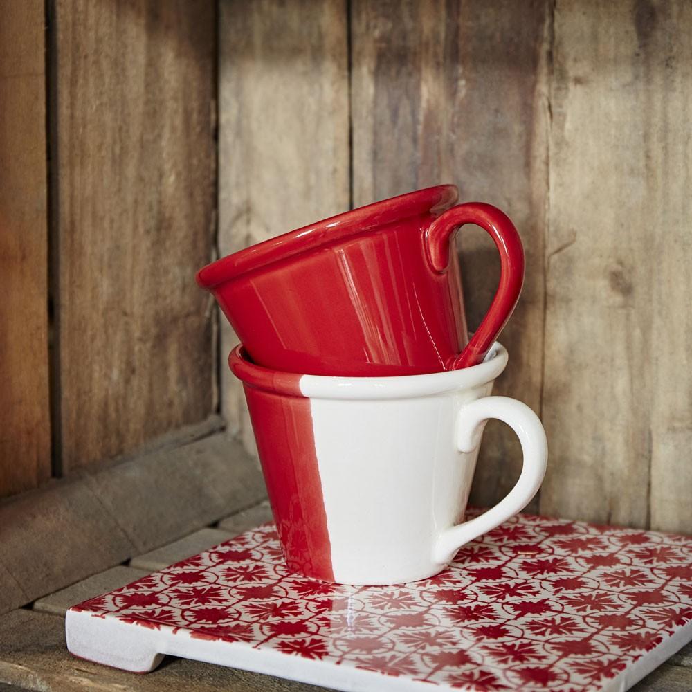 Duplicité - Tasse bi-colors  rouge  et creme 20cl (par2)