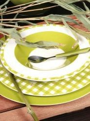 Home - Assiette plate en porcelaine vichy olive (par6)
