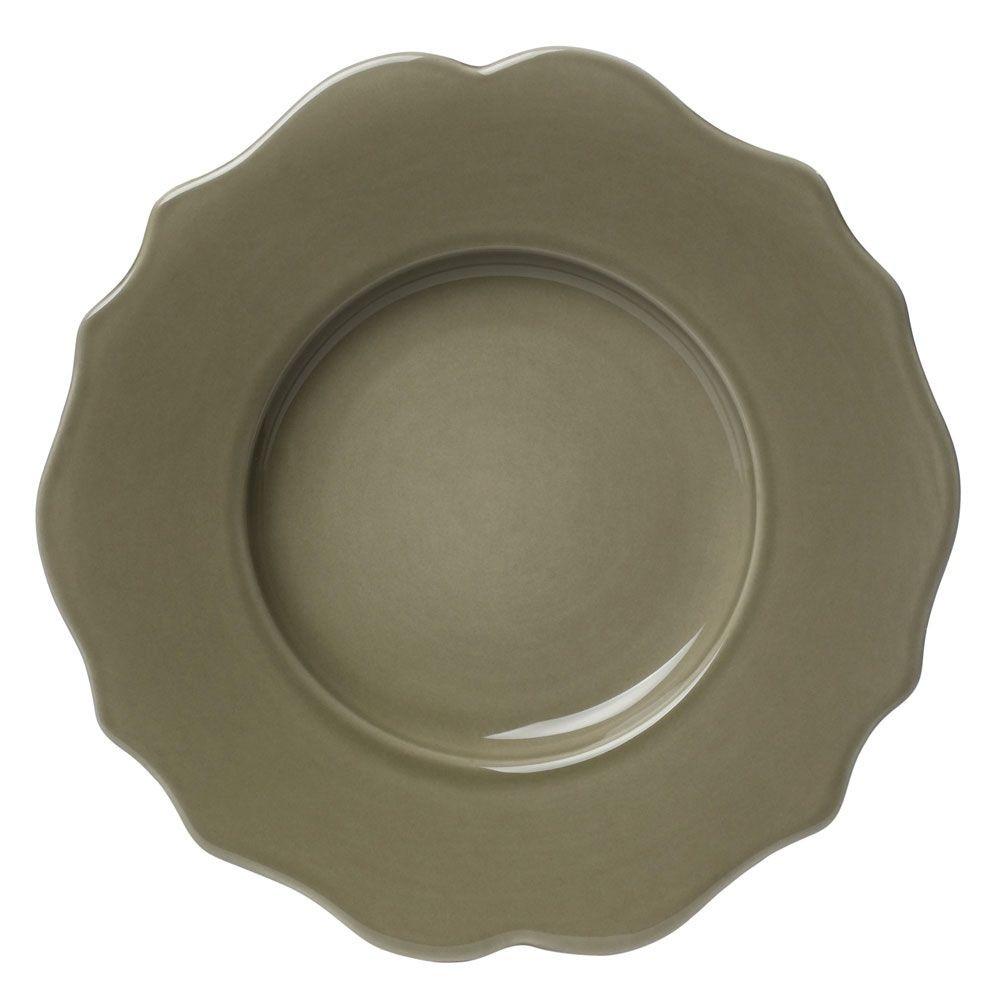 Baroque  - Assiette à dessert  en faience vert bronze (par 6)