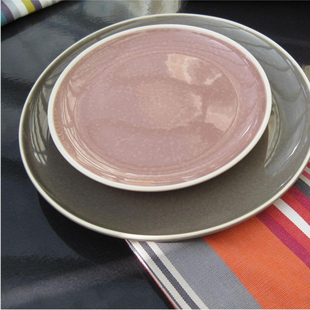 Sixties - Assiette à dessert rose poudre  20cm (par6)