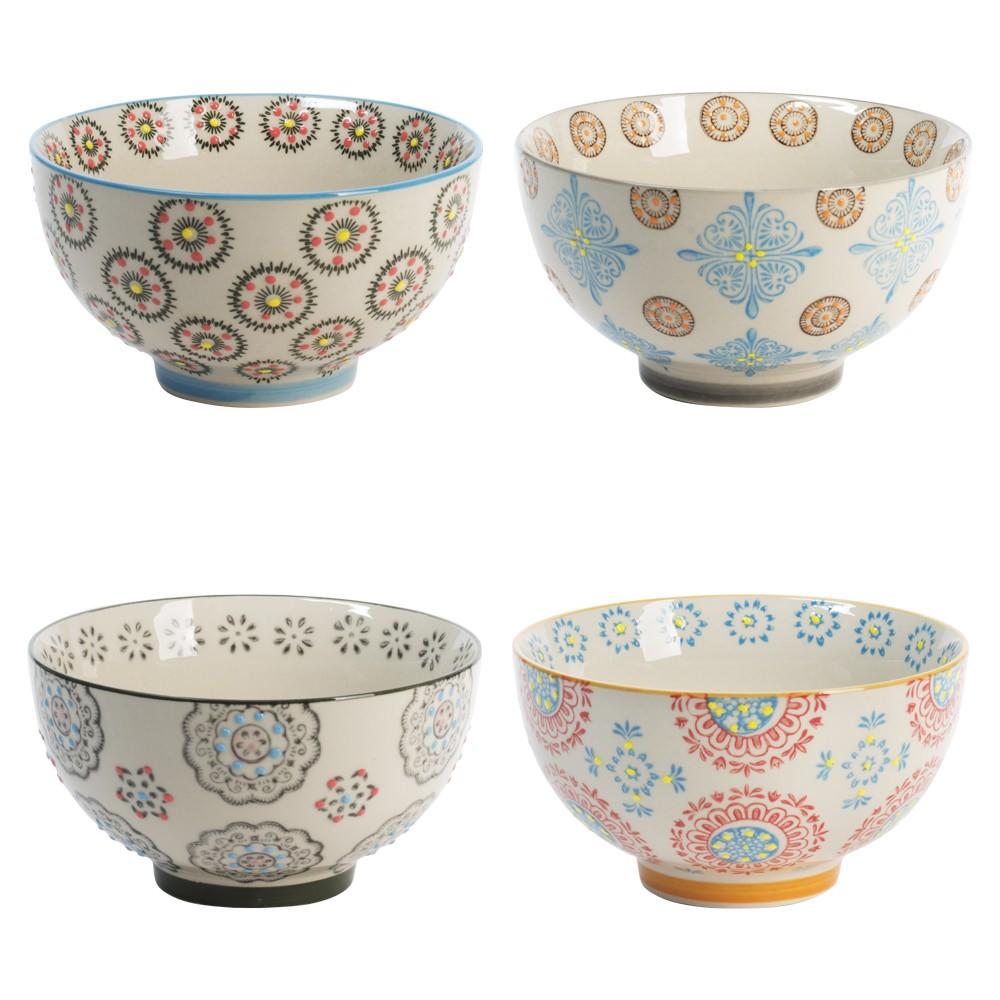 Bohème - Coffret 4 bols motifs assortis ceramique 14cm