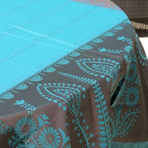 Volga - Nappe jacquard dessin placé, choco-turquoise, carrée