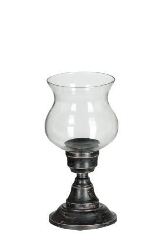 Rosa - Photophore sur pied bois et verre noir 15x15x30cm