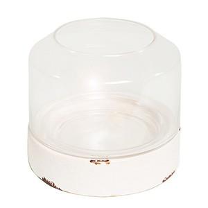 Lumiere- photophore ceramique et verre brillant blanc 21x21x17cm