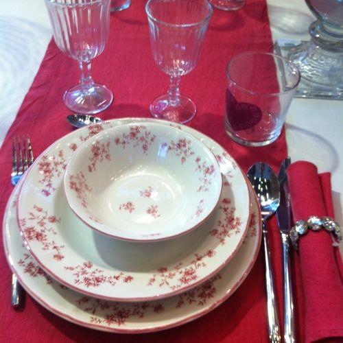 Rose - Assiette à  dessert fleurie petites roses en faience (par6)