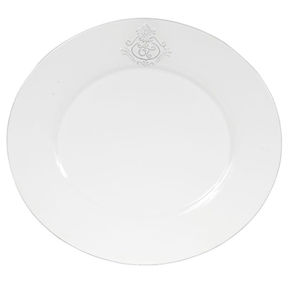 Capucine - Assiette plate ovale en faience blanche ( par 2)