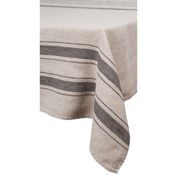 Aubagne – Serviette en lin rayures blanc et granit (par6)