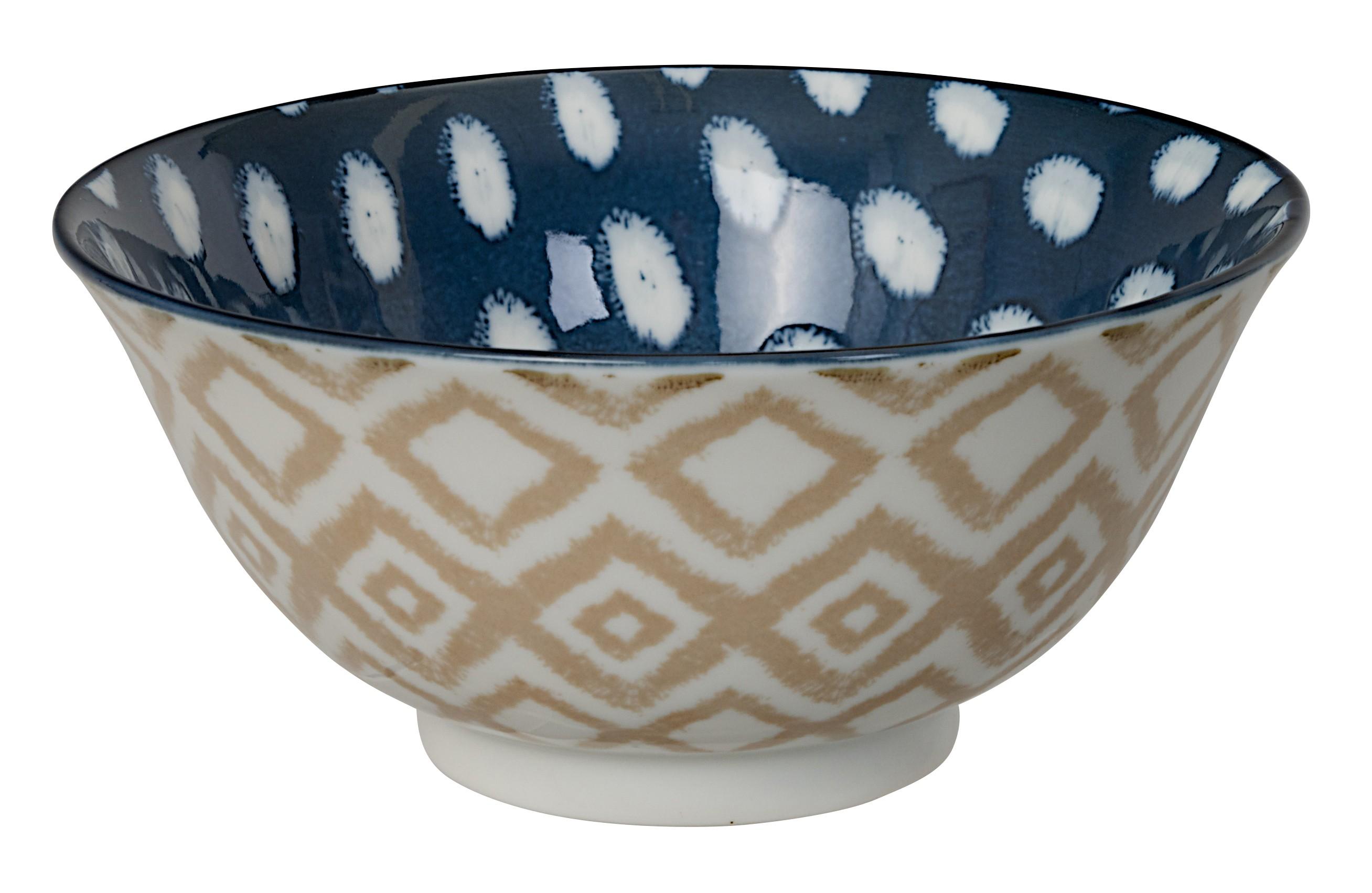Kasuri - bol salade pois bleu foncé et carré beige  15x7m en porcelaine (par2)