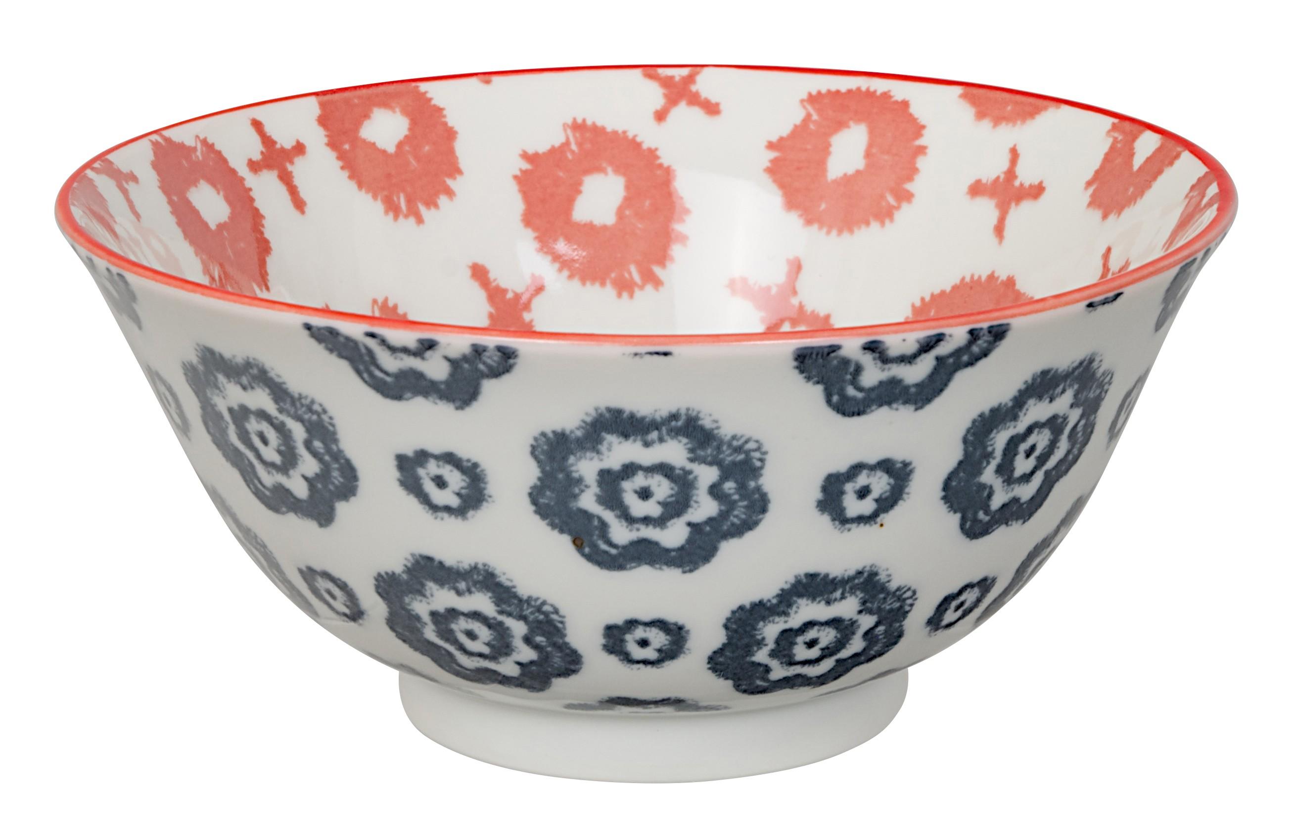 Kasuri - bol salade croix rouge et fleur bleu marine 15x7m en porcelaine (par2)