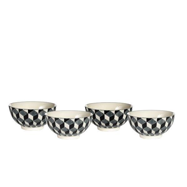 vintage bol motif 3d noir et blanc par 4. Black Bedroom Furniture Sets. Home Design Ideas