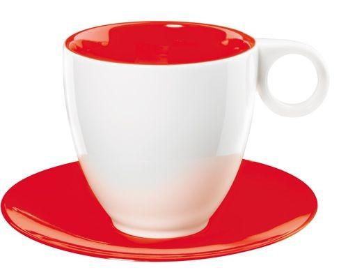 Colorit  -  tasse café blanc/rouge  en  porcelaine  (par6)