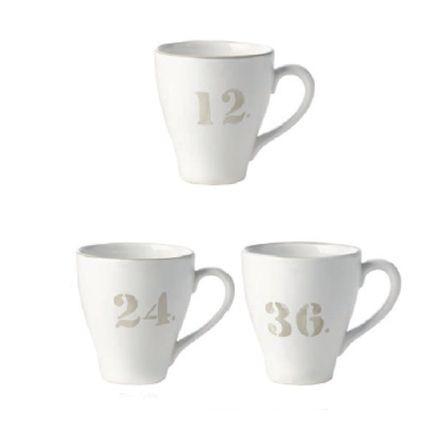 Deauville  - Mug  blanche et  beige numéros assortis (par6)