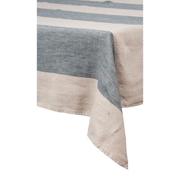 Firenze – Nappe en lin rayures indigo carrée