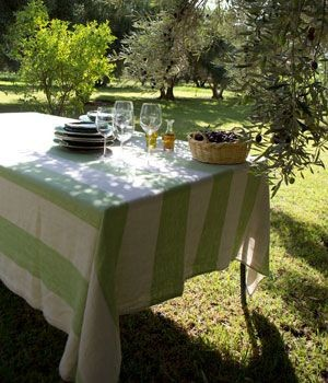Firenze – Nappe en lin rayures vert rectangle