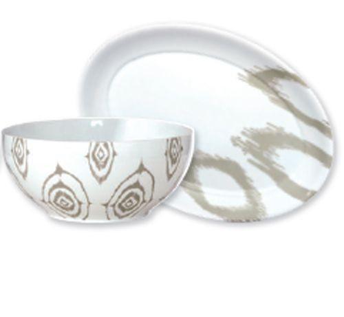 Ikat - plat ovale en porcelaine decoré etnic greige