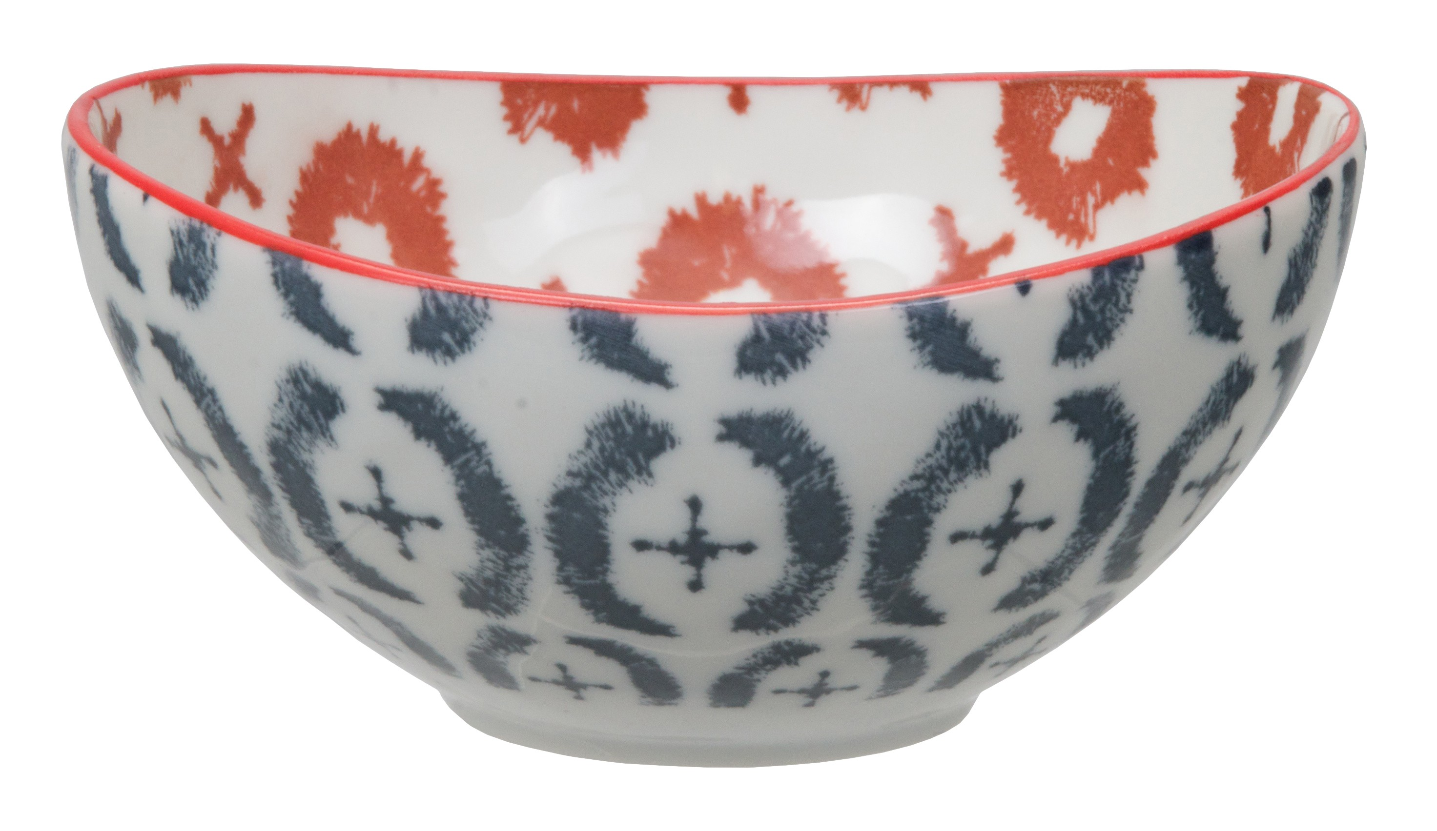Kasuri - bol  bleu et rouge  10,5x5,5cm en porcelaine (par2)