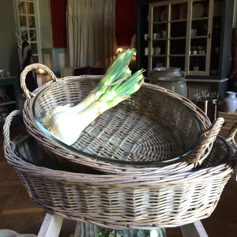 Josephine - Plat ovale osier et verre  PM