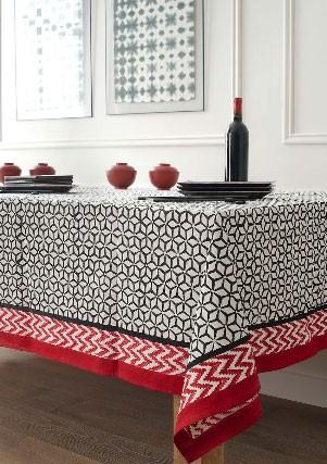 Red & Black - Nappe coton 270x170 cm noire et rouge
