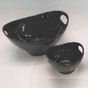 Cuccina  -  Saladier  2  anses  30x27  noir  en  faience