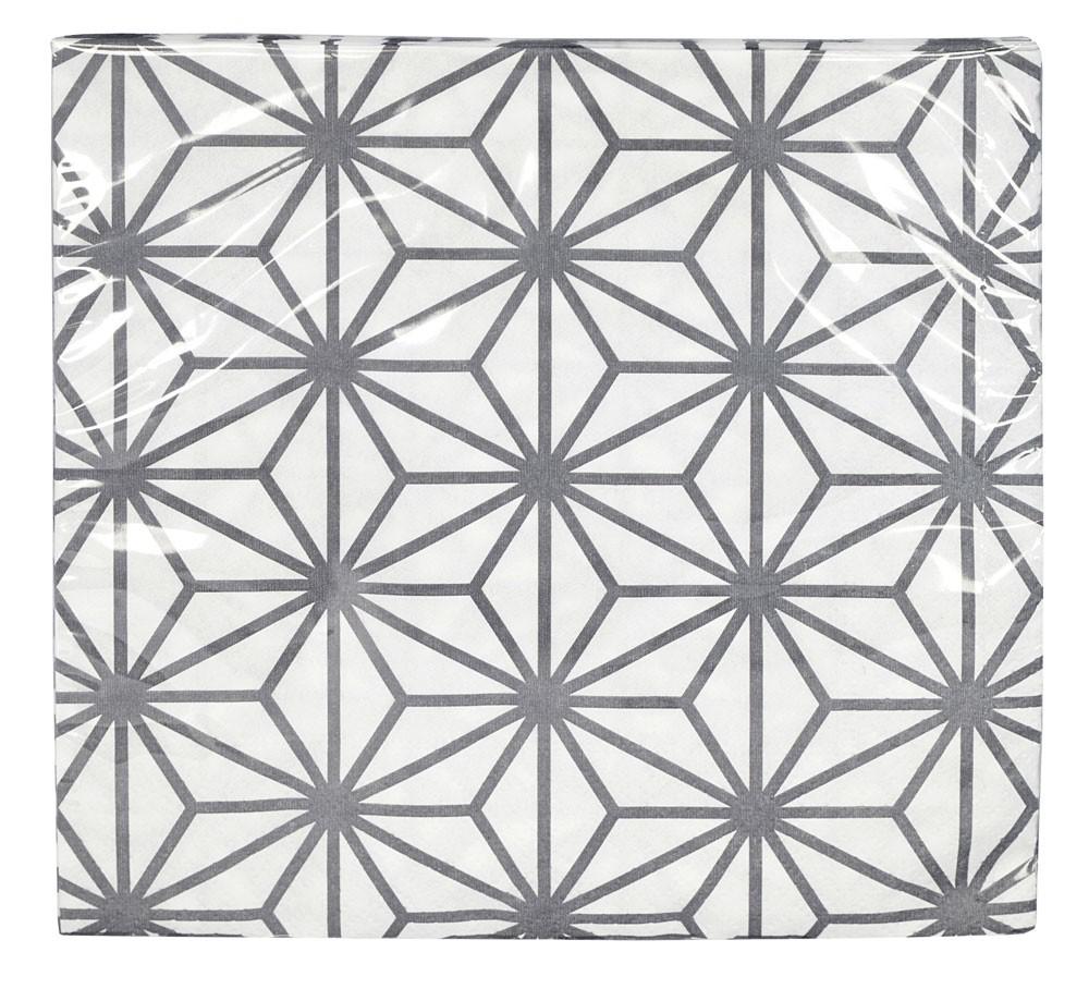 Nippon grey - Serviettes en papier grise et blanches 33x33cm (paquet de 20)