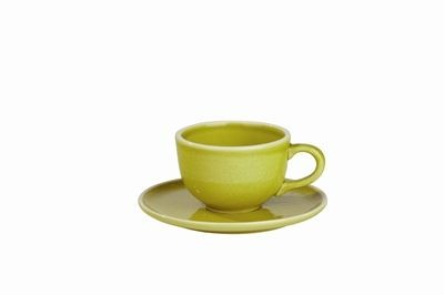 Sixties  - Tasse à  café  et  sous  tasse  curcuma  (par6)