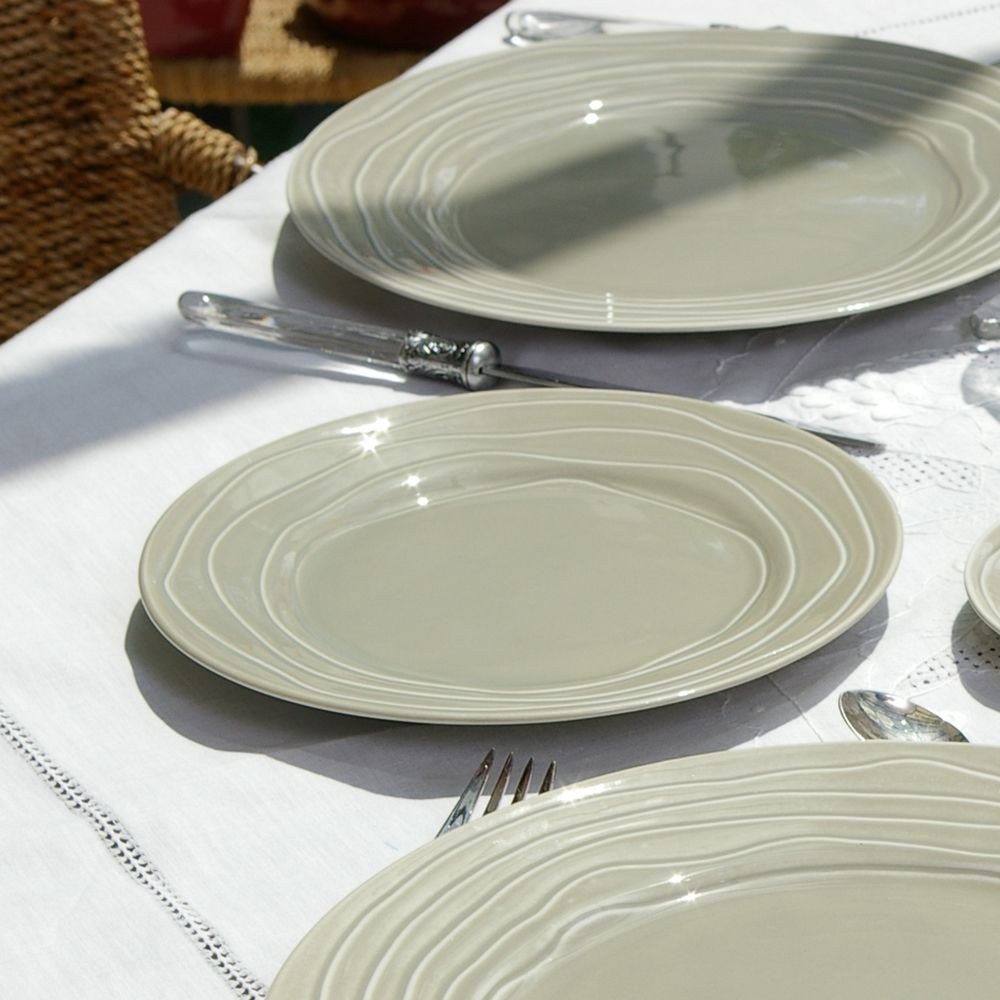 vague assiette dessert grise en fa ence par6. Black Bedroom Furniture Sets. Home Design Ideas