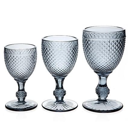 Diamond verre pied gris par 2 - Peindre des verres a pied ...