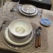 Pommier - Assiette creuse gris et fleurs de pommier en porcelaine (par2)