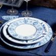 Calli - Assiette plate bleue et blanche pinceaux ( par 2)