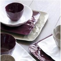 Caesar - Assiette plate carrée mastic froissée (par4)