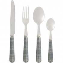 Prince - menagère 16 pieces decor simili gris inox