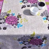 Bouquet - Chemin de table imprimé bouquet pink sur chambray