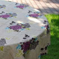 Bouquet - Nappe imprimé bouquet pink sur chambray carrée