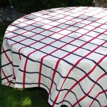 Ochoa - Nappe tradition 100% Coton,rouge-marine,rectangle