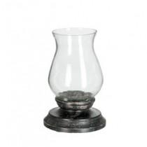 Rosa - Photophore sur pied bois et verre noir 15x15x25cm