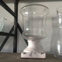 Rakou - Photophore lanterne bougeoir ceramique et verre blanc 19x31cm
