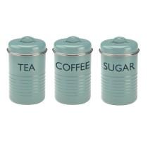 Vintage- Trio de boites café thé et sucre bleu
