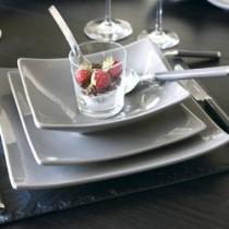 Matine -Assiette céréales carrée gris titan (par6)