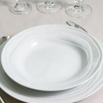 Vague - Assiette  calotte blanche en faîence (par6)