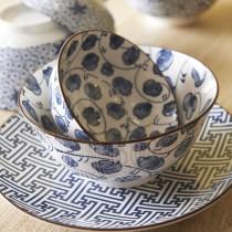 Saigon Blue - bol porcelaine petales noire  15x7cm ( par 2)